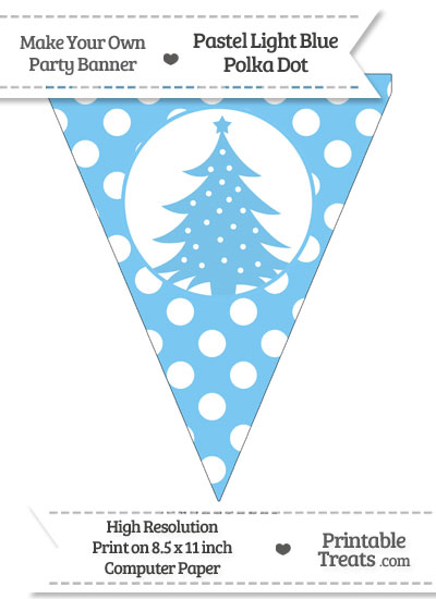 Pastel Light Blue Polka Dot Pennant Flag with Christmas Tree from PrintableTreats.com