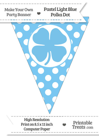 Pastel Light Blue Polka Dot Pennant Flag with Four Leaf Clover Facing Right from PrintableTreats.com