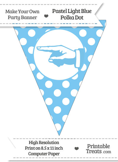 Pastel Light Blue Polka Dot Pennant Flag with Hand Pointing Left from PrintableTreats.com