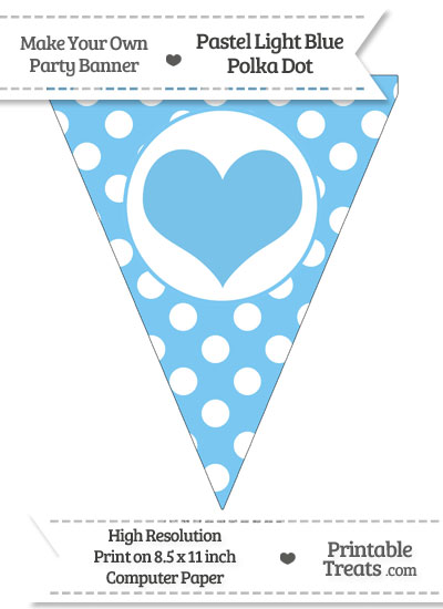 Pastel Light Blue Polka Dot Pennant Flag with Heart from PrintableTreats.com