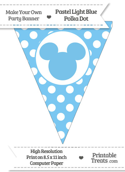 Pastel Light Blue Polka Dot Pennant Flag with Mickey Mouse from PrintableTreats.com