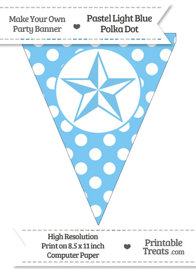 Pastel Light Blue Polka Dot Pennant Flag with Nautical Star from PrintableTreats.com