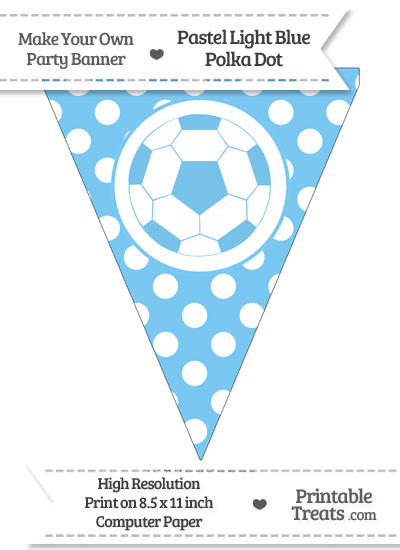 Pastel Light Blue Polka Dot Pennant Flag with Soccer Ball from PrintableTreats.com