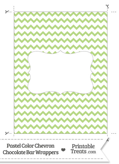 Pastel Light Green Chevron Chocolate Bar Wrappers from PrintableTreats.com