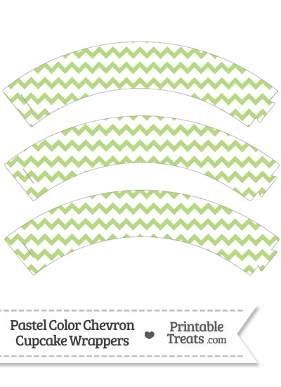 Pastel Light Green Chevron Cupcake Wrappers from PrintableTreats.com