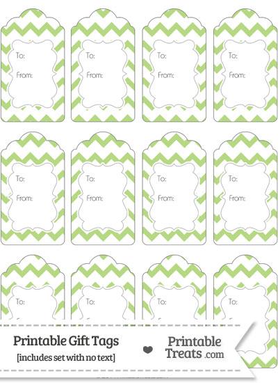 Pastel Light Green Chevron Gift Tags from PrintableTreats.com