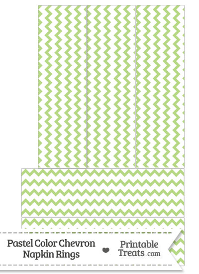 Pastel Light Green Chevron Napkin Rings from PrintableTreats.com