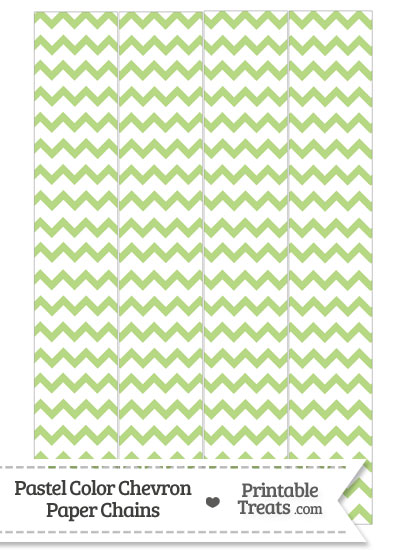 Pastel Light Green Chevron Paper Chains from PrintableTreats.com