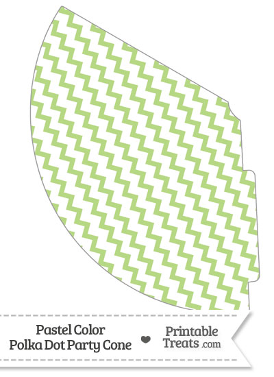 Pastel Light Green Chevron Party Cone from PrintableTreats.com