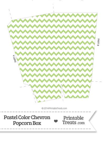 Pastel Light Green Chevron Popcorn Box from PrintableTreats.com