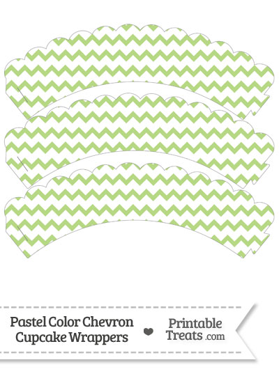 Pastel Light Green Chevron Scalloped Cupcake Wrappers from PrintableTreats.com