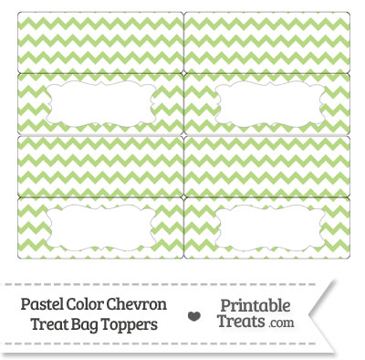 Pastel Light Green Chevron Treat Bag Toppers from PrintableTreats.com
