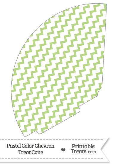 Pastel Light Green Chevron Treat Cone from PrintableTreats.com