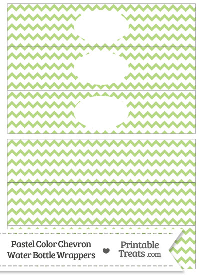 Pastel Light Green Chevron Water Bottle Wrappers from PrintableTreats.com