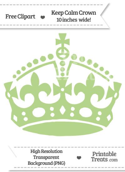 Pastel Light Green Keep Calm Crown Clipart from PrintableTreats.com