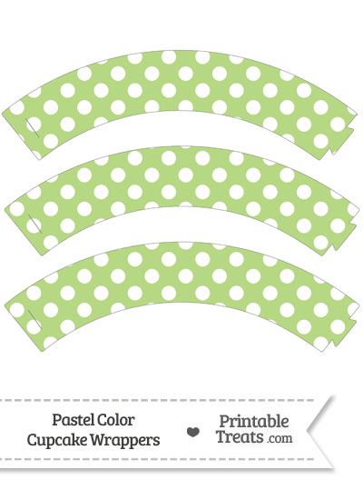 Pastel Light Green Polka Dot Cupcake Wrappers from PrintableTreats.com