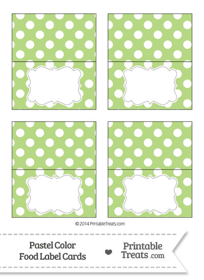 Pastel Light Green Polka Dot Food Labels from PrintableTreats.com