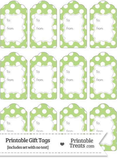 Pastel Light Green Polka Dot Gift Tags from PrintableTreats.com