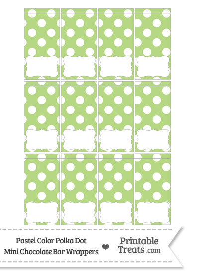 Pastel Light Green Polka Dot Mini Chocolate Bar Wrappers from PrintableTreats.com
