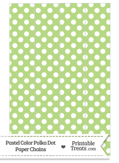 Pastel Light Green Polka Dot Paper Chains from PrintableTreats.com