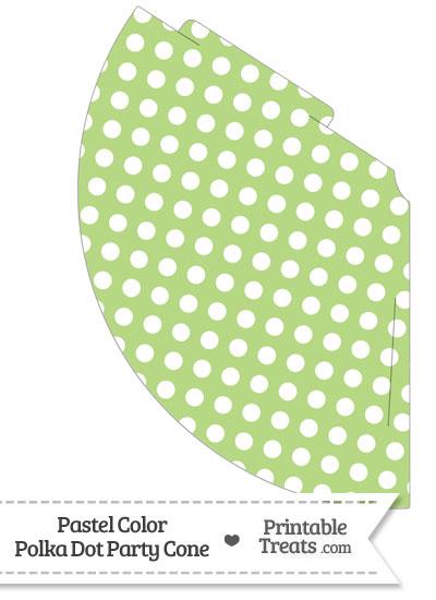 Pastel Light Green Polka Dot Party Cone from PrintableTreats.com