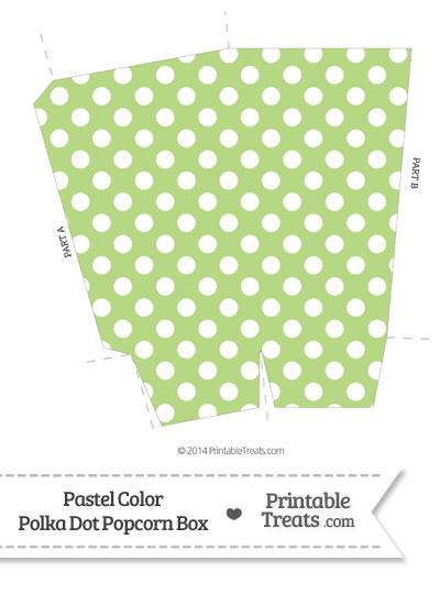 Pastel Light Green Polka Dot Popcorn Box from PrintableTreats.com
