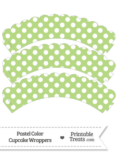 Pastel Light Green Polka Dot Scalloped Cupcake Wrappers from PrintableTreats.com