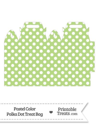 Pastel Light Green Polka Dot Treat Bag from PrintableTreats.com