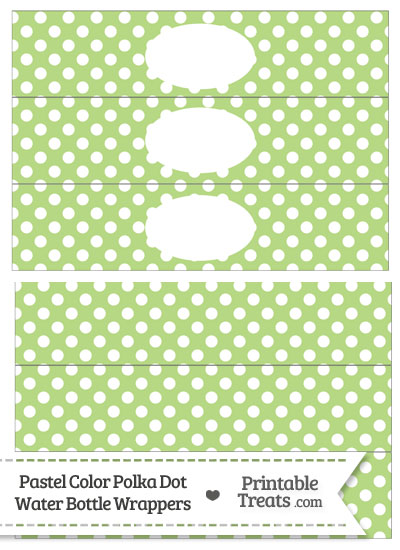 Pastel Light Green Polka Dot Water Bottle Wrappers from PrintableTreats.com