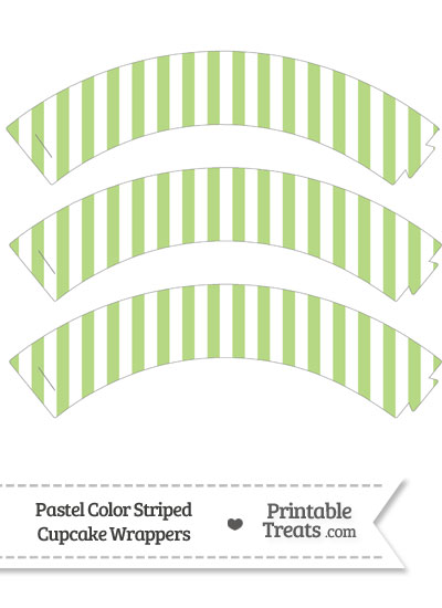 Pastel Light Green Striped Cupcake Wrappers from PrintableTreats.com