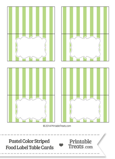 Pastel Light Green Striped Food Labels from PrintableTreats.com