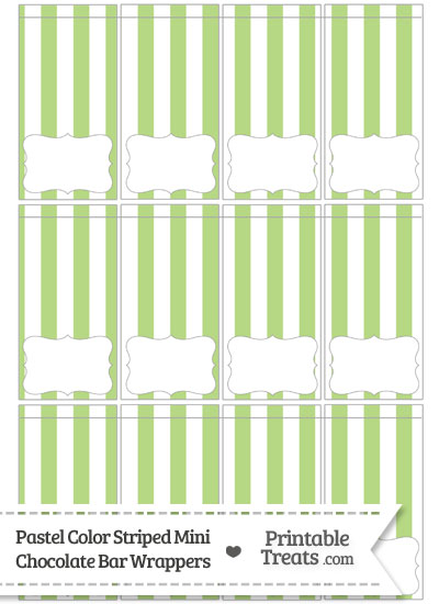Pastel Light Green Striped Mini Chocolate Bar Wrappers from PrintableTreats.com