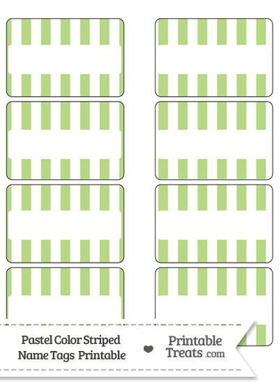 Pastel Light Green Striped Name Tags from PrintableTreats.com