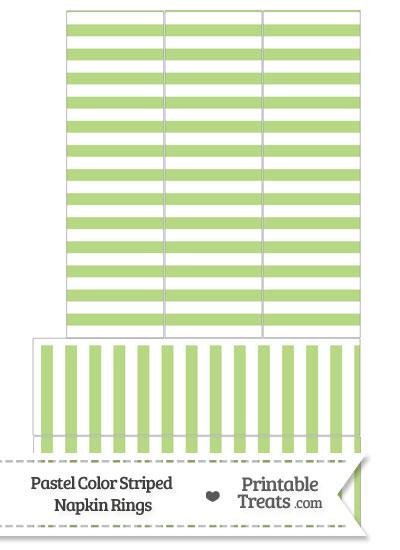 Pastel Light Green Striped Napkin Rings from PrintableTreats.com