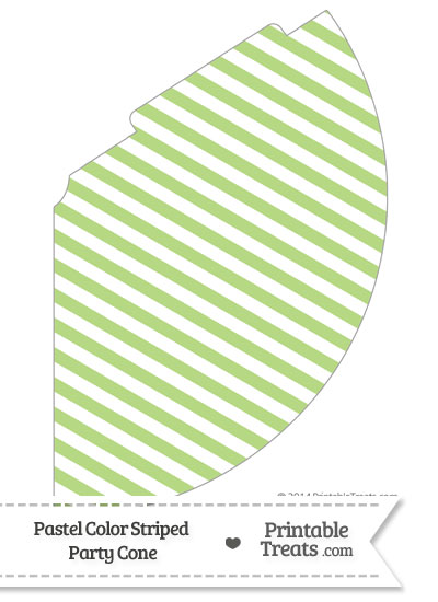 Pastel Light Green Striped Party Cone from PrintableTreats.com