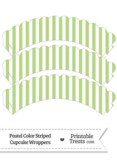 Pastel Light Green Striped Scalloped Cupcake Wrappers from PrintableTreats.com