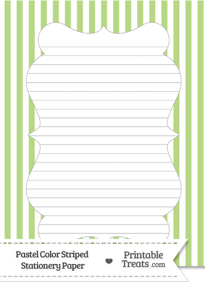 Pastel Light Green Striped Stationery Paper from PrintableTreats.com
