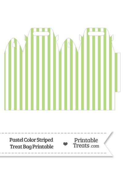 Pastel Light Green Striped Treat Bag from PrintableTreats.com