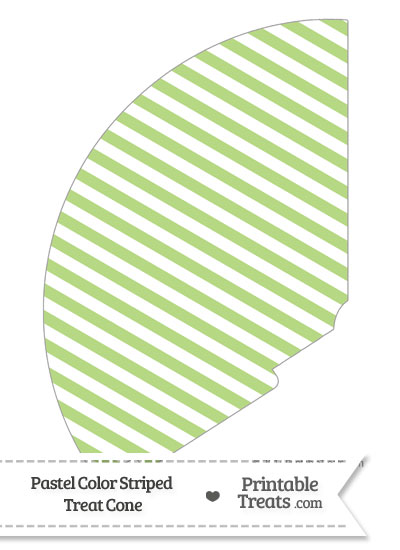 Pastel Light Green Striped Treat Cone from PrintableTreats.com