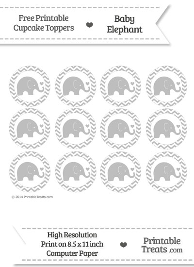 Pastel Light Grey Chevron Baby Elephant Cupcake Toppers from PrintableTreats.com