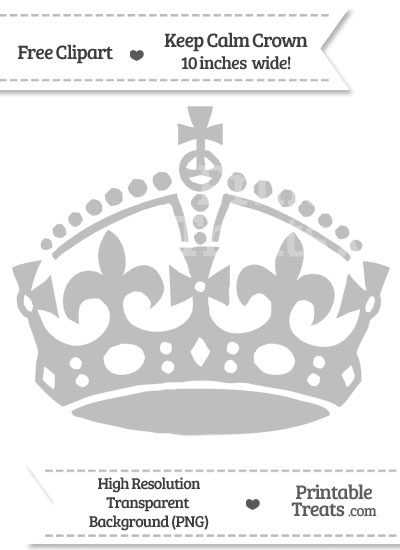 Pastel Light Grey Keep Calm Crown Clipart from PrintableTreats.com