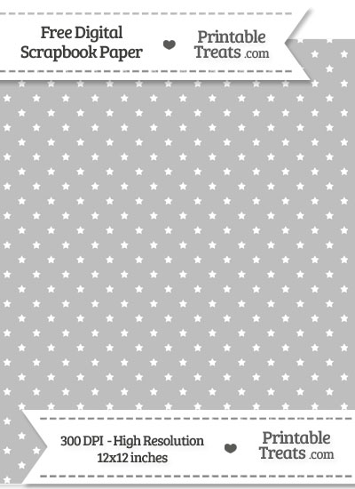 Pastel Light Grey Mini Stars Digital Paper from PrintableTreats.com