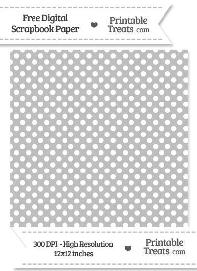 Pastel Light Grey Polka Dot Digital Paper from PrintableTreats.com