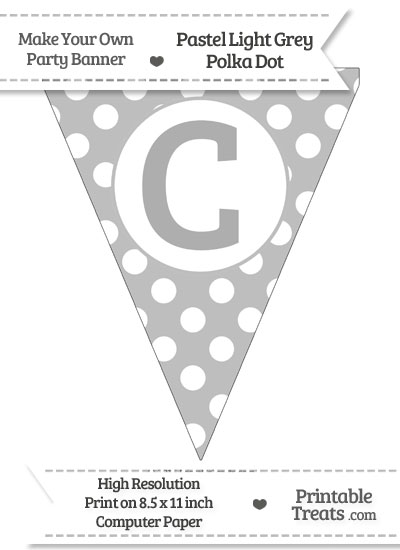 Pastel Light Grey Polka Dot Pennant Flag Capital Letter C from PrintableTreats.com