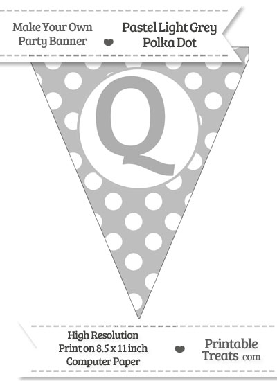 Pastel Light Grey Polka Dot Pennant Flag Capital Letter Q from PrintableTreats.com