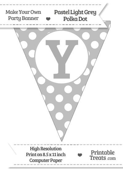 Pastel Light Grey Polka Dot Pennant Flag Capital Letter Y from PrintableTreats.com