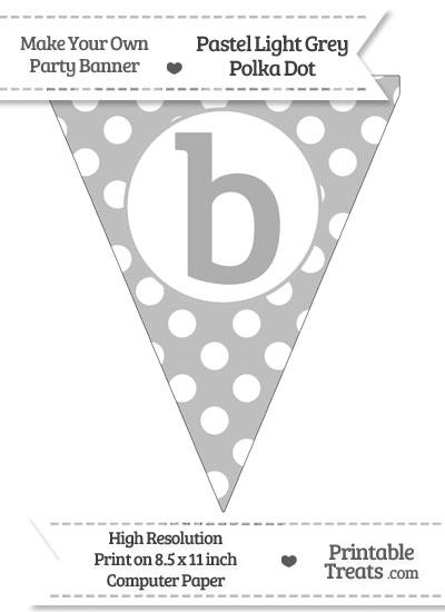 Pastel Light Grey Polka Dot Pennant Flag Lowercase Letter B from PrintableTreats.com