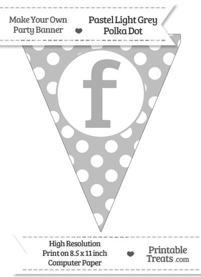 Pastel Light Grey Polka Dot Pennant Flag Lowercase Letter F from PrintableTreats.com
