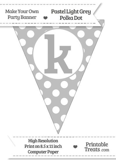 Pastel Light Grey Polka Dot Pennant Flag Lowercase Letter K from PrintableTreats.com