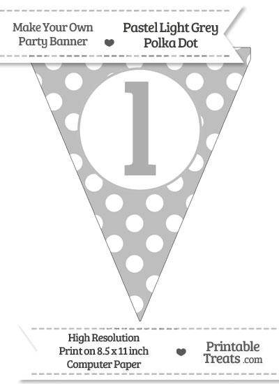 Pastel Light Grey Polka Dot Pennant Flag Lowercase Letter L from PrintableTreats.com